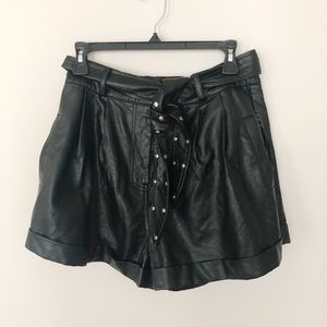 Honey Punch Faux Leather Shorts with Studded Belt